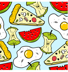 Bright seamless pattern with food and fruits vector
