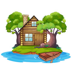 Cabin on island vector