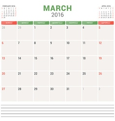 Calendar Planner 2016 Flat Design Template March vector