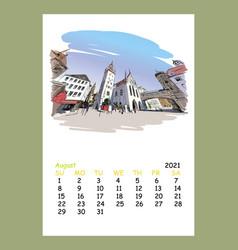 Calendar sheet august month 2021 year munich vector