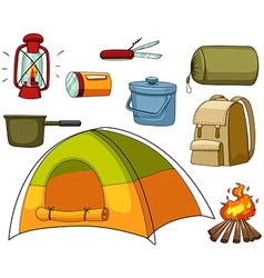 Camping set with tent and equipments vector
