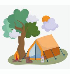 camping tent boot bonfire lantern treevacations vector image
