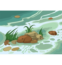 Cartoon grass stones and brook vector