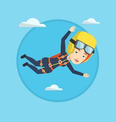 Caucasian parachutist jumping with parachute vector