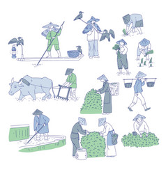 chinese farmers and fishermen in traditional vector image