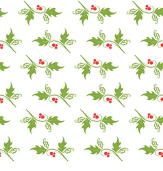 Christmas decorative pattern with holly branches vector image