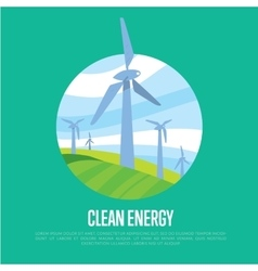 Clean energy banner Wind power generation vector