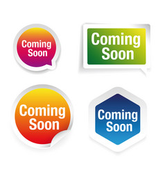 Coming soon colorful label set vector