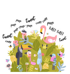 cute cartoon birds singing and tweeting in bushes vector image