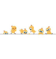 Cute chicken border funny baby chick little flat vector