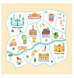 detailed map of philadelphia city vector image
