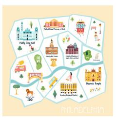 Detailed map philadelphia city vector