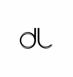 Dl logo monogram with slice rounded modern design vector