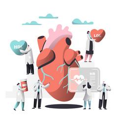 Doctor diagnose heart for cholesterol presence vector