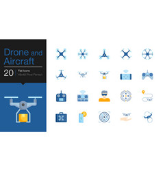 Drone aircraft and aerial icons flat icon design vector