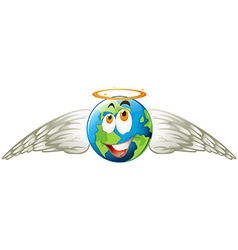 Earth with angel wings vector