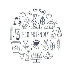 eco friendly ecology hand drawn icons set vector image