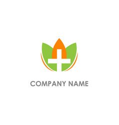 Eco leaf cross design logo vector