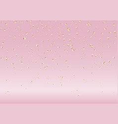Falling gold confetti on pink background vector