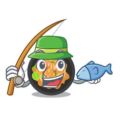 Fishing pat thai in cartoon shape vector