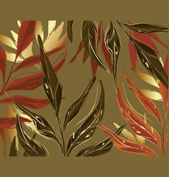 Floral palm and gold foil seamless pattern rust vector