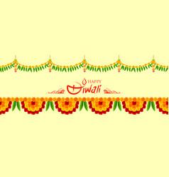 flower garland decoration toran for happy diwali vector image