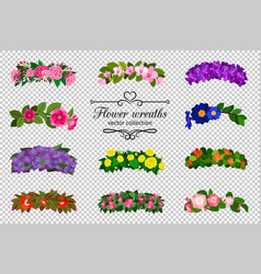 Flower wreaths set vector