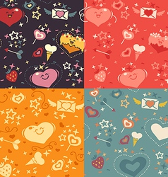 four valentines hearts pattern vector image