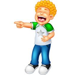 funny boy laughing cartoon vector image