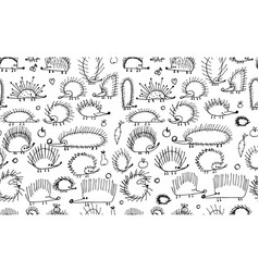 Funny hedgehogs seamless pattern for your design vector