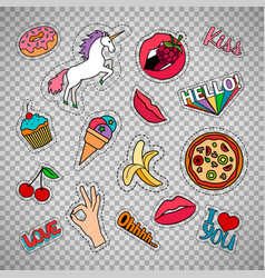Funny quirky food stickers set vector