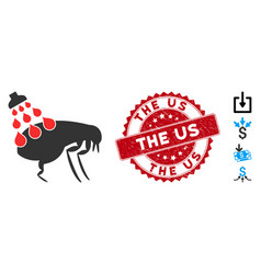 Get rid fleas icon with textured us stamp vector