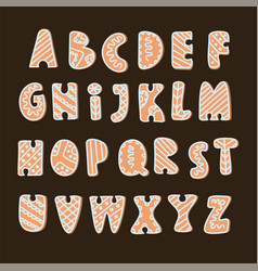 Gingerbread alphabet merry christmas vector