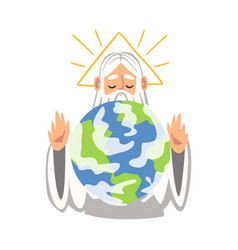 God or holy father creating world as narrative vector