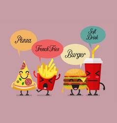 group of friendly fast food characters vector image