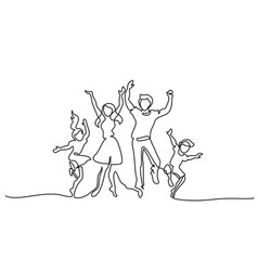 Happy family mother father dancing with children vector
