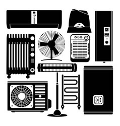 heating ventilation and conditioning silhouette vector image