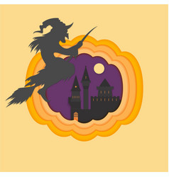 Helloween paper cut with haunted and scary castle vector