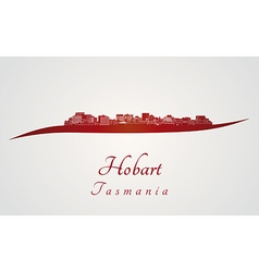 Hobart skyline in red vector image