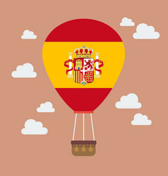 Hot air balloon with spain flag vector
