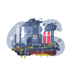 Industrial smoke clouds on city landscape vector