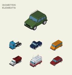 Isometric transport set of truck armored suv and vector