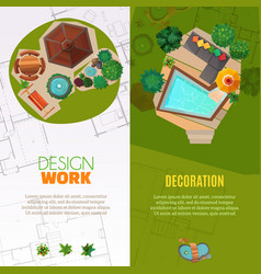 Landscape design top view banners vector