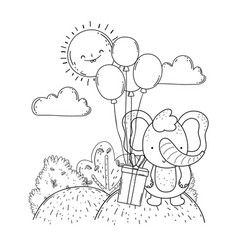 Little elephant with balloons helium and gift in vector