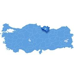 Map of Turkey Ordu vector