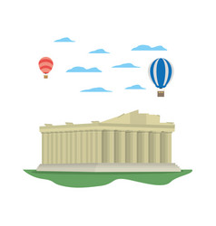 Medieval athens architecture and air balloons vector