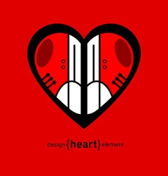 modern red sneakers on heart vector image