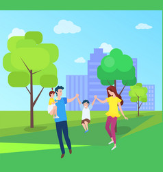 Mom and dad boy girl spend time together outdoors vector