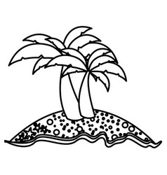 Monochrome contour of island with two palms vector