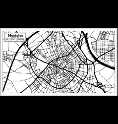 mostoles spain city map in retro style outline map vector image